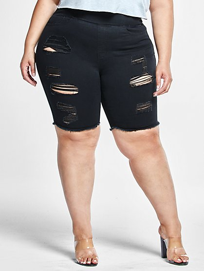 Plus Size High Rise Pull On Bermuda Shorts - Fashion To Figure