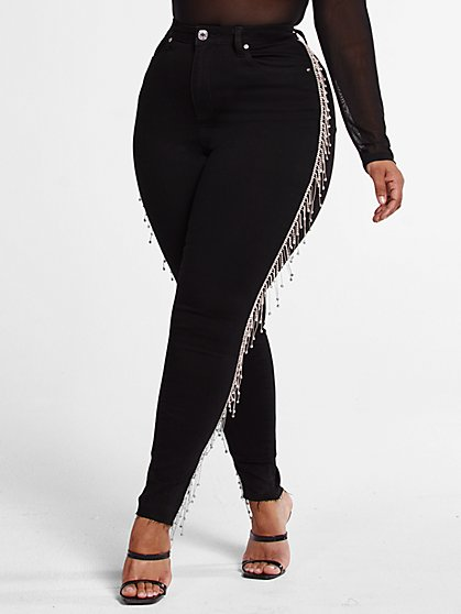 Plus Size High Rise Rhinestone Fringe Jeans - Fashion To Figure