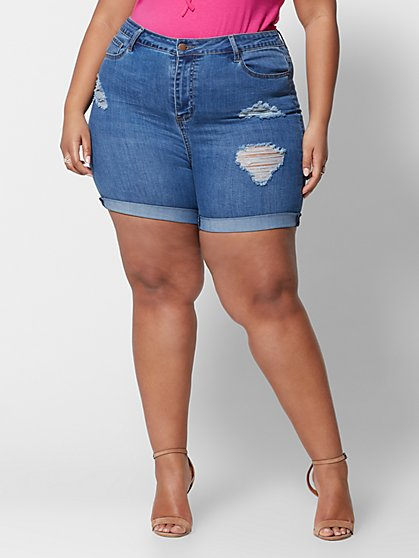 Plus Size High-Rise Roll Cuff Destructed Shorts - Medium Wash - Fashion To Figure