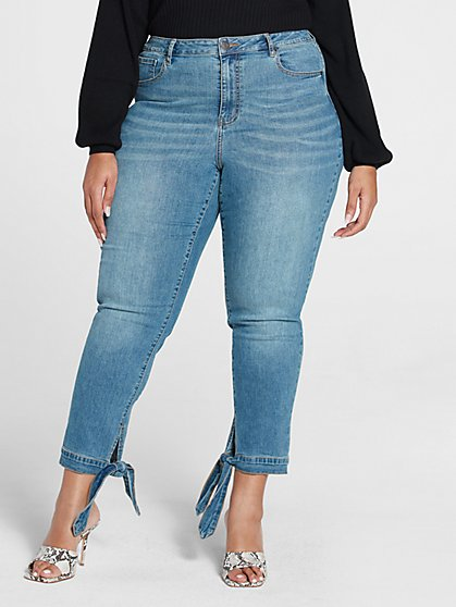 Plus Size High Rise Skinny Jeans with Ankle Ties - Fashion To Figure