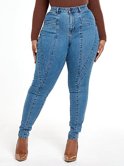 Plus Size High Rise Skinny Jeans with Seam Detail - Fashion To Figure