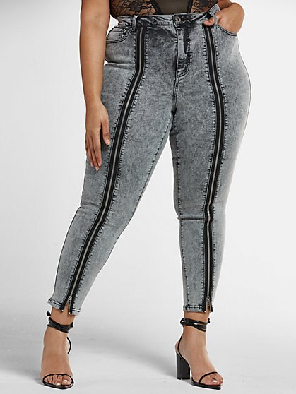 Plus Size High Rise Skinny Jeans with Zipper Detail - Fashion To Figure