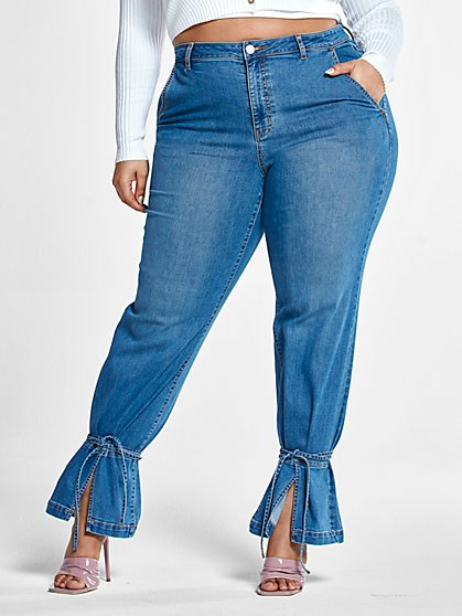 Plus Size High Rise Straight Leg Jeans with Ankle Ties - Short Inseam - Fashion To Figure