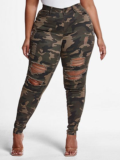 Plus Size High-Rise Super Skinny Destructed Jeans in Green Camo - Short Inseam - Fashion To Figure