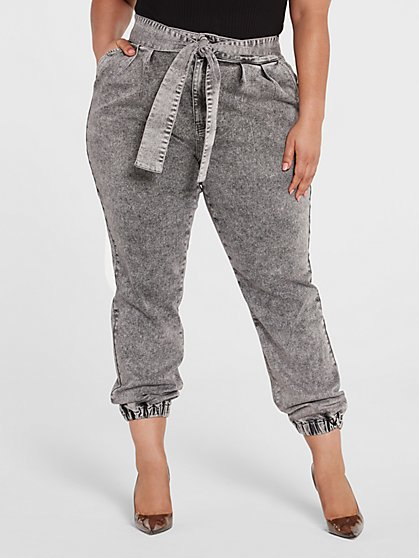 Plus Size High Rise Tie Waist Denim Joggers - Fashion To Figure