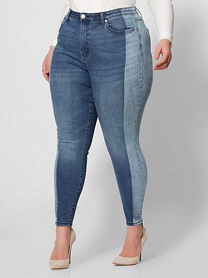 Plus Size High-Rise Two Tone Skinny Jeans - Fashion To Figure