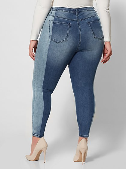 3570089600ee8 ... Plus Size High-Rise Two Tone Skinny Jeans - Fashion To Figure ...