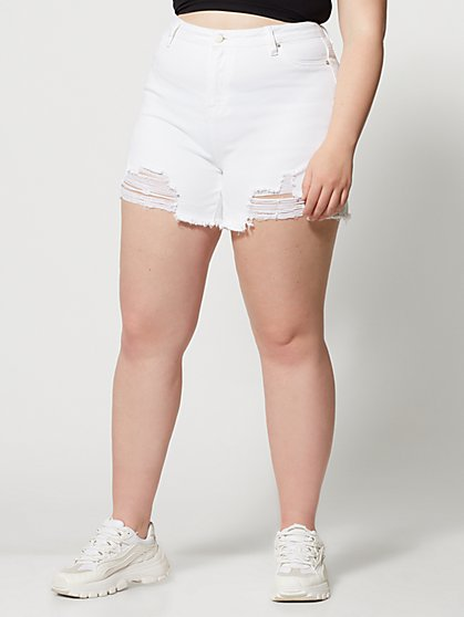 Plus Size High-Rise White Cut Off Shorts - Fashion To Figure