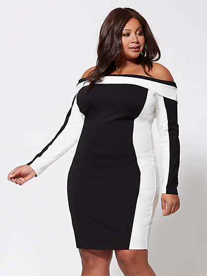 Plus Size Hillary Colorblock Bodycon Dress - Fashion To Figure