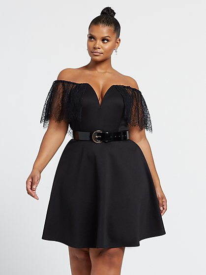 Plus Size Hillary Lace Trim Flare Dress - Fashion To Figure