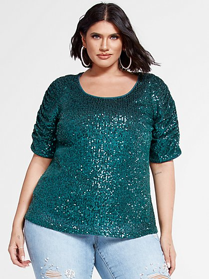 Plus Size Hillary Ruched Sleeve Sequin Top - Fashion To Figure