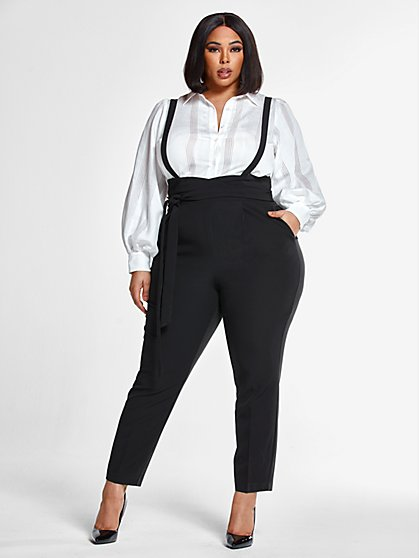 Plus Size Hillary Suspender Pants - Fashion To Figure