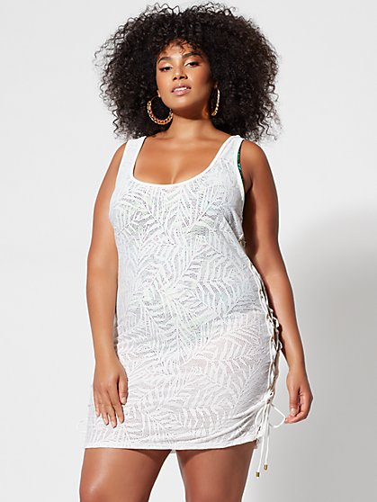 Plus Size Holli Lace-Up Detail Cover-Up - Fashion To Figure