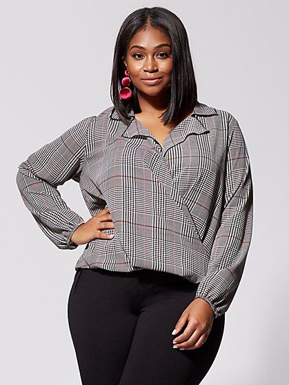 Plus Size Holli Plaid Wrap Top - Fashion To Figure