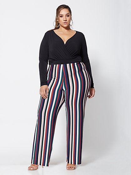 Plus Size Honey Striped Jumpsuit - Fashion To Figure