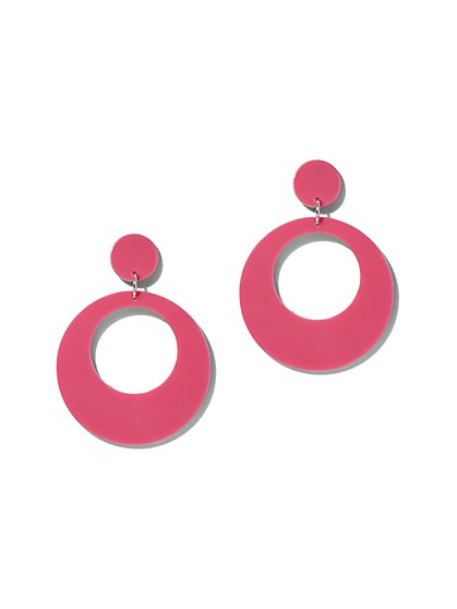 Plus Size Hot Pink Double Circle Earring - Fashion To Figure