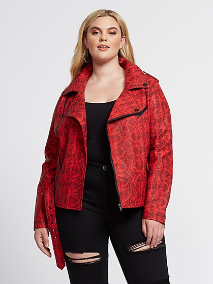 Plus Size Hunter Snake-Print Moto Jacket - Fashion To Figure