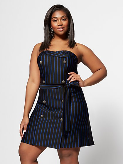 Plus Size Ibbie Strapless Stripe Dress - Fashion To Figure