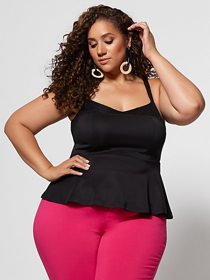 Plus Size Idonia Black Peplum Top - Fashion To Figure