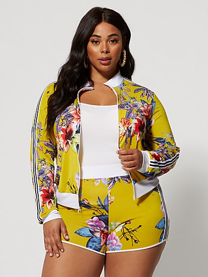 abbd81e03 Plus Size Ilanna Floral Track Bomber - Fashion To Figure ...