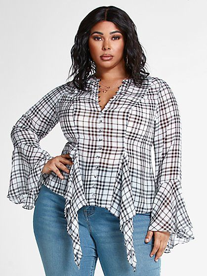 Plus Size Illeana Plaid Asymmetrical Peplum Top - Fashion To Figure