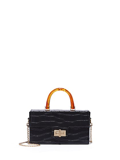 Plus Size In My Bag - Black Faux-Croc Purse - Fashion To Figure