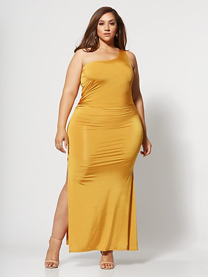 Plus Size Inari Golden One Shoulder Maxi Dress - Fashion To Figure
