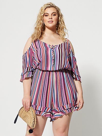 Plus Size Ines Stripe Cold Shoulder Romper - Fashion To Figure
