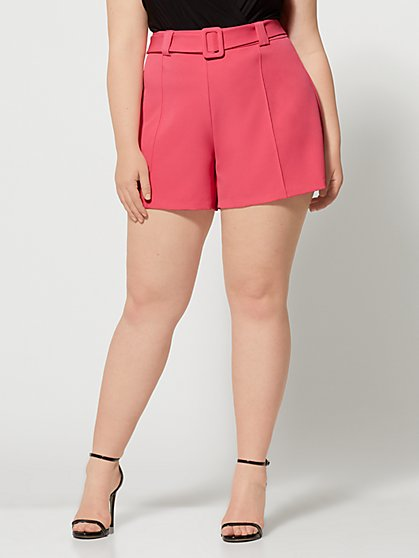 Plus Size Isabel Covered Belt Shorts - Fashion To Figure