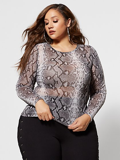 Plus Size Isadora Snake Print Mesh Top - Fashion To Figure