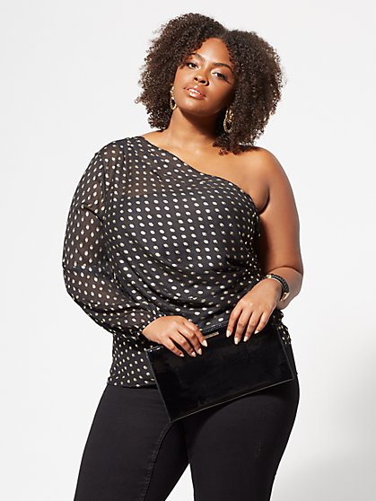 Plus Size Isla Gold Dot One-Shoulder Top - Fashion To Figure