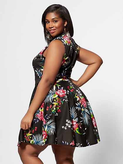 3bbd565194791 ... Plus Size Isla Tropical Print Flare Dress - Fashion To Figure ...