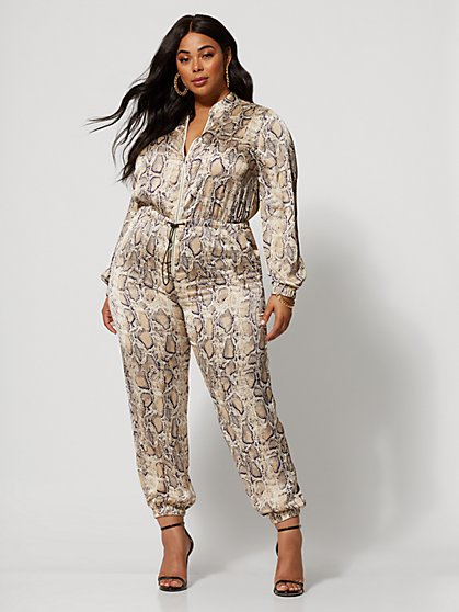 Plus Size Issa Zip-Front Snake Print Jumpsuit - Fashion To Figure