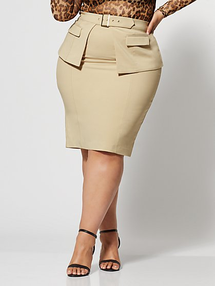 Plus Size Ivanna Belted Peplum Pencil Skirt - Fashion To Figure