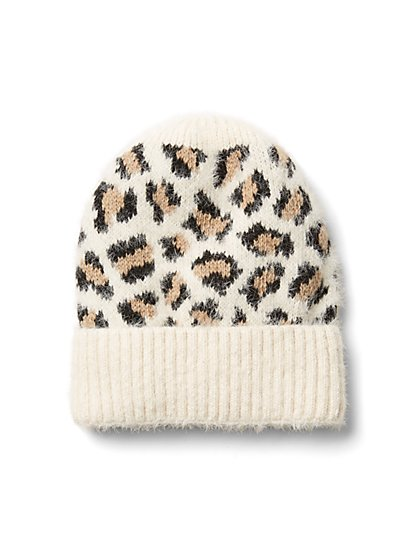 Plus Size Ivory Leopard Print Beanie - Fashion To Figure