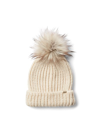 Plus Size Ivory Pom Pom Beanie - Fashion To Figure