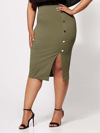 Plus Size Ivy Button-Accented Pencil Skirt - Fashion To Figure