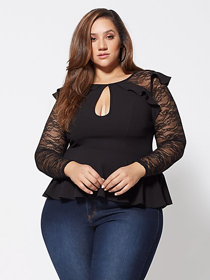 Plus Size Ivy Lace and Ruffle Peplum Top - Fashion To Figure