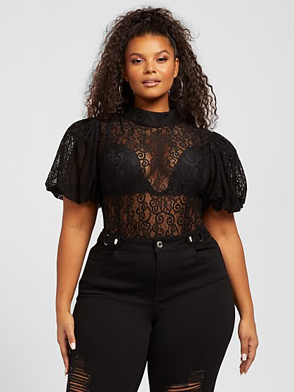 Plus Size Ivy Puff Sleeve Lace Bodysuit - Fashion To Figure