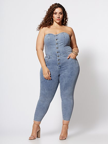 Plus Size Iyanna Strapless Denim Jumper - Fashion To Figure