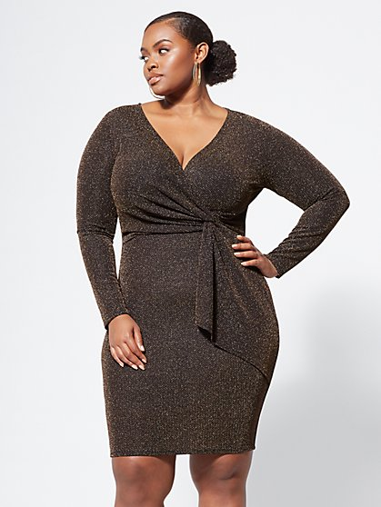 Plus Size Izabella Metallic Drape Dress - Fashion To Figure