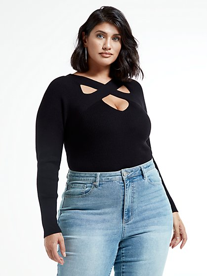 Plus Size Jackie Cutout Pullover Sweater - Fashion To Figure