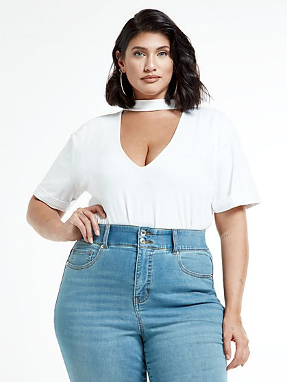 Plus Size Jackie Keyhole Short Sleeve Top - Fashion To Figure