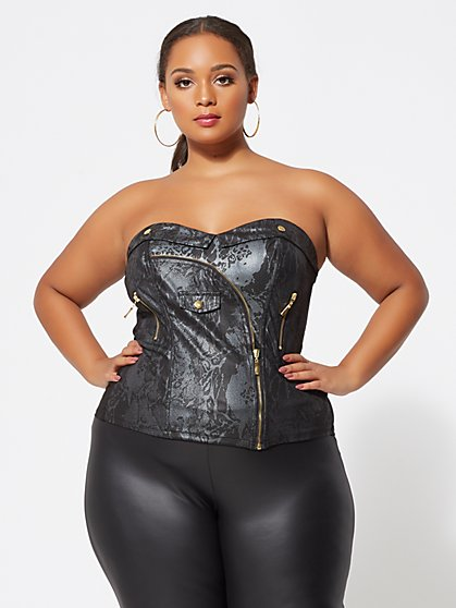 Plus Size Jackson Moto Corset Top - Fashion To Figure