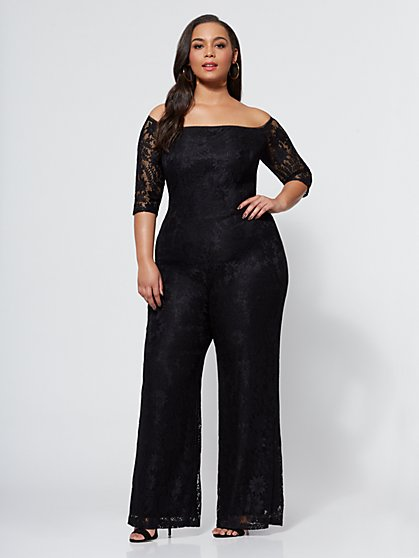 Plus Size Jada Lace Jumpsuit - Fashion To Figure