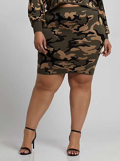 Plus Size Jami Camo Sweater Skirt - Fashion To Figure