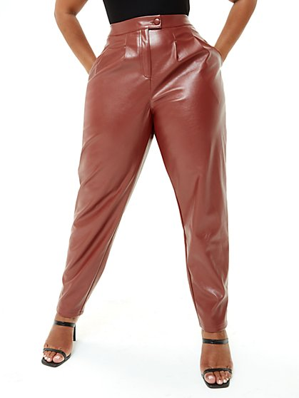 Plus Size Janay Faux Leather Trousers - Fashion To Figure