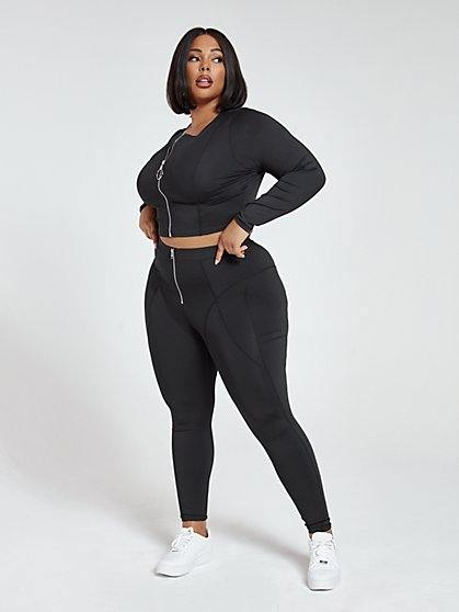 Plus Size Janelle Active Zip Leggings - Fashion To Figure