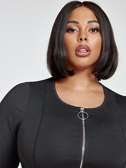 Plus Size Janelle Zip Front Active Crop Top - Fashion To Figure