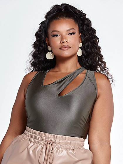 Plus Size Janesha Metallic Cutout Tank Top - Fashion To Figure